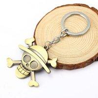 애니메이션 시리즈 원피스 Luffy 밀짚 모자 해적 해골 열쇠 고리 금속 열쇠 고리 키 링 팬에 대 한 키 홀더 H11503