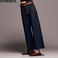 XNWMNZ ZA Moda Moda Papelera Premium Pocket Marine Pantalones vaqueros rectos Vintage Vintage Jeans de alta cintura para mujer Pantalones para niñas Pantalones 210331