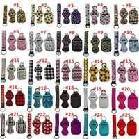 Hand Sanitizer and Chapstick Holder Keychains, Including 30ml Bottle, Wristlet Lanyard, Clip 83 Colors