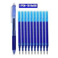 BALLPOEPEN 11 STKS / PARTIJ 0.5mm Wisable Pen Set Blauw / Zwart / Groen / Rood Inkt Magic Refill voor School Office Student Writing Tool