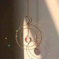 Mond Ring Regenbogen Kristall Suncatcher Hängen Prisma Ornament Anhänger Home Garten Auto Dekor Wind Glockenschmuck Dekorationen
