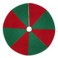 Christmas Decorations Red Green Tree Skirts Floor Mat Round Carpet Personality Exquisite Wear-resistant Plush Edge Cover Xmas Decoration