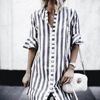 Faylisvow weiße blaue streifen rüschen bluse sommer herbst halbhülse stehkragen langes hemd lässig button frauen tops und frauen blusen