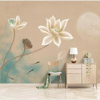 Wallpapers 3D Wallpaper Modern Chinese Hand-Painted Lotus Ink Landscape Background Wall Self-Adhesive Waterproof Stickers Papel