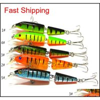 Baits Lures Sports Outdoors Drop Delivery 2021 2 Sections Minnow Lure Artificial With Treble Hooks 10Dot5Cm 9Dot6G Plastic Hard Bait Fishing