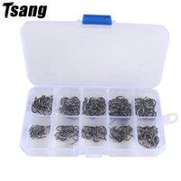 Gancho de pesca de acero altamente carbono Barbed 3 # -12 # 100-600pcs / caja de cebo de cebo jig agujero carpa accessoires ganchos