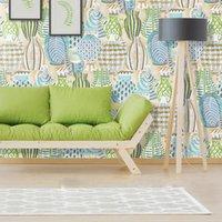 Wallpapers European Blue Green Sketch Hand-painted Vase Art Wallpaper Bedroom Living Room Dining Studio Non-woven Printing Creative