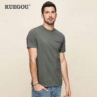Kuegou Marke Herren Kurzarm T-Shirt Männer Mode Freizeit Rundhalsausschnitt Print 100% Baumwolle T-shirt Männer Sommer Tops Größe LT-26030 210524