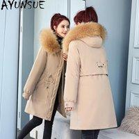 Women's Down & Parkas AYUNSUE Winter Jacket Women 2021 Hooded Black Coat Female Warm Thick Jackets Korean Style Casaco Feminino Gxy84