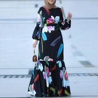 Palestine Printed Muslim Women's Long Skirt Elegant Retro Fashion Abaya Plus Size Moroccan Islamic Ramadan Dress Ethnic Clothing