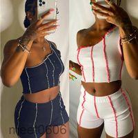 Women tracksuit 2021 summer new Designer Fashion women's one shoulder vest contrast splicing two piece sets sleeveless vest shorts Outfits meet0606