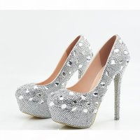 Glitter Wedding Shoes 2019 Crystals Beads Pumps High Heels Bridal Shoes 5cm 8cm 11cm 14cm Bling Bling Prom Shoes for Lady