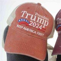 Американские президентские выборы бейсболка Caps Trump 2024 шляпа вышивка буквы печати солнце шляпы хип-хоп шляпы пикированной кепки AHC7475