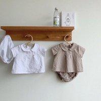 Milancel Summer Baby Romes Peter Pan Collar Tees y PP Pantalones 2 PCS Ropa de niñas Breve Baby Suit Y200323