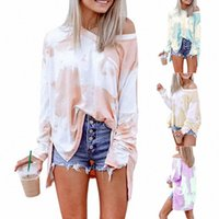 European And American Cross-border Style Gradient Color Tie-dye Printing Casual Fashion Women's Long Sleeves Fullfashion T-Shirt