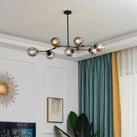 Nordic Art Deco Glass Ball Chandelier Lighting Fixtures 90-260v Post Modern Luminaria Led For Living Room Dining Chandeliers