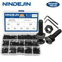 NINDEJIN NAIL M2-M6 Kohlenstoffstahl Sechskant-Sechskant-Sockel-Taste inbus Rundkopfschraube Bolzen- und Muttersatz