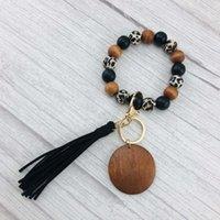 Car Keychain Bracelet Blank Silicone Leopard Wood Bead Commodity Tassel Key Chain A05y805 PVF3805