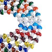 100pcs Mixed Colors Lampwork Glass Mushroom Loose Spacer Beads For Jewelry Beading DIY Bracelet Necklace Accessories