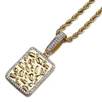 Хип-хоп CZ Zircon асфальтированные Bling leced из геометрических квадратных золотых слитков ожерелье для мужчин рэпер ювелирные изделия серебряный цвет кулон ожерелья