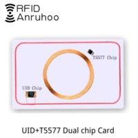 الذكية المزدوج رقاقة بطاقة بيضاء UID 5577 نسخة إعادة كتابة مفتاح 125 كيلو هرتز 13.56 ميجا هرتز ناسخة استنساخ العلامة nfc deplicator ic معرف ملصقا التحكم في الوصول