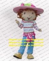 Morango rosa morango bagas meninas lassock jovem mascote traje mascotte com chapéu grande adulto no.24 navio grátis