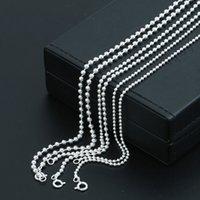 Personalizado 925 jóias fina de prata esterlina feita à mão colar de cadeia de esferas em 2 tamanhos (2 mm e 2,5 mm de bola de bola) casal presente