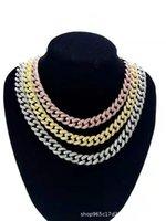 Link de moda calidad diamantado con incrustaciones de alta calidad chapado en oro de 12 mm Hip Hop Cuba collar Pulsera Tendencia Accesorios de tendencia