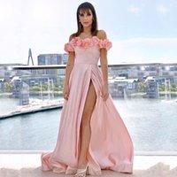 Handmade Flowers Bateau Neck Formal Dresses Evening Women Wear High Side Split Long Satin Bride Gowns Prom Vestidos