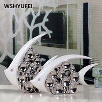 Casal de prata bouble casal beijo de peixe vaso moderno europa cerâmica artigos de mobiliário de escritório decoração de ornamento