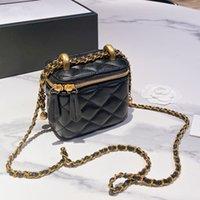 Moda Kızlar Küçük Altın Topu Mini Kutusu Çanta Çanta Kılıfı Ünlü Zarif Marka Hakiki Deri Tasarımcılar Bayan Tiny Vanity Kozmetik Açık Sacoche Luxury_Handbags 13c