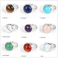 10mm 12mm Natural Gem Stone Tiger Eye Howlite Finger Ring Round Crystal Onyx Copper Open Resizable Wedding Party Rings
