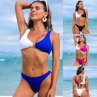 Women's Swimwear Stitching Swimsuit Women Bikini High Waist Plus Size Tankini Swimsuits Ladies Agent Provocateur
