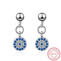 Argento sterling 925 per le donne Micro-Inlaid Blue Clear CZ Zirconia Round Lucky Turkey Evil of Eye Orecchini S-E571