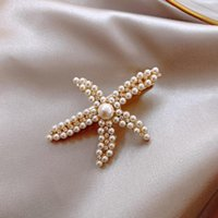 Hair Clips & Barrettes Sweet Romantic Starfish Pearl Hairpin Headdress Ins Girl Retro French Simple Top Clip Side Fashion Jewelry