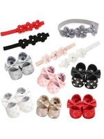 First Walkers Baby Baptism Shoes And Headband Set Cute Heart Princess Flower Hairband For Infant Born Girls