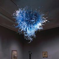 Lámparas de decoración de arte nórdico luces boca mano soplado vidrio lámpara de vidrio 110v / 120v bombillas colgantes Colores azules marroquí lámpara colgante de araña