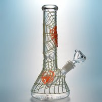 Glass Bong Glow in the Dark Hookahs Spider Web Bongs 18 Female Joint Oil Dab Rigs Straight Type Water Pipe With Diffused Downstem & Bowl GID02