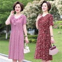 Vestido de Verão de meia-idade e idosos mulheres de mangas compridas soltas tamanho grande es m517