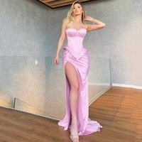 Pink Strapless Mermaid Evening Dresses with High Split Sweep Train Sweetheart Neck Satin Formal Prom Dress