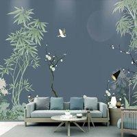 Wallpapers Custom Chinese Style Bamboo Po Wallpaper 3D Hand-painted Chrysanthemum Flowers Bird Wall Art Decor Mural Home Designs
