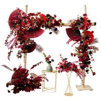 Flores decorativas Guirnaldas Arco de boda Decoración Arreglo Flor Evento Papel Fan De Hojas Fila Centro Suelo Borgoña Vino Rojo Partido Supp