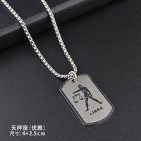 Collana di costellazioni in acciaio inox Zodiac 12 Modo del pendente oroscopo Jewerly per gli uomini Donne con o-catena e corda nera 442 Q2