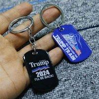 2024 ترامب طباعة حلقة رئيسية الحملة العلم قلادة ترامب الفولاذ المقاوم للصدأ سلسلة المفاتيح سوف أعود Keychain حملة رئاسية الولايات المتحدة G50MTT0