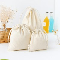 Jewelry Pouches, Bags 1Pcs Pure White Cotton Linen Gift Bag Birthday Party Wedding Favor Holder Makeup Drawstring Pouch Storage