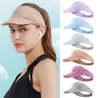 Wide Brim Hats Men Women Baseball Cap Sport Headband Classic Sun Visor Hat Running Summer Tie Dye Roll-up Portable Beach Caps