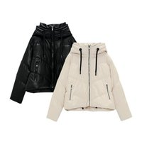 Women's Down & Parkas Ailegogo Winter Women Hooded Zipper Black Faux Leather Cotton Coat Casual Female Thick Warm Short Jacket Windproof Out