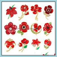 Pins, Jewelrypoppy Arrival Alloy Rhinestone Brooch Pins Charming Crystal Flower Poppy Brooches Jewelry For Women Gifts Drop Delivery 2021 0X
