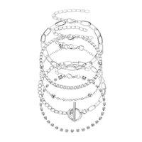 Fashion Bohemian Gold Crystals Bracelets For Women Boho Jewelry Geometric Link Chains Layered Hand Chain Charm Bracelet Set Bangle