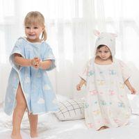 Kinder Mantel Baumwolle Bademantel 6 Ebenen Gaze Baby Waw Tuch Nette Jungen Mädchen Mit Kapuze Badetuch Toalha de Banho Drop Shipping